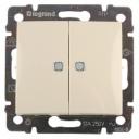Legrand valena 774328 Выключатель двухклавишный с подсветкой ( слоновая кость) , 10А