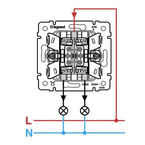 Legrand valena 774405 Выключатель двухклавишный (белый) , 10А